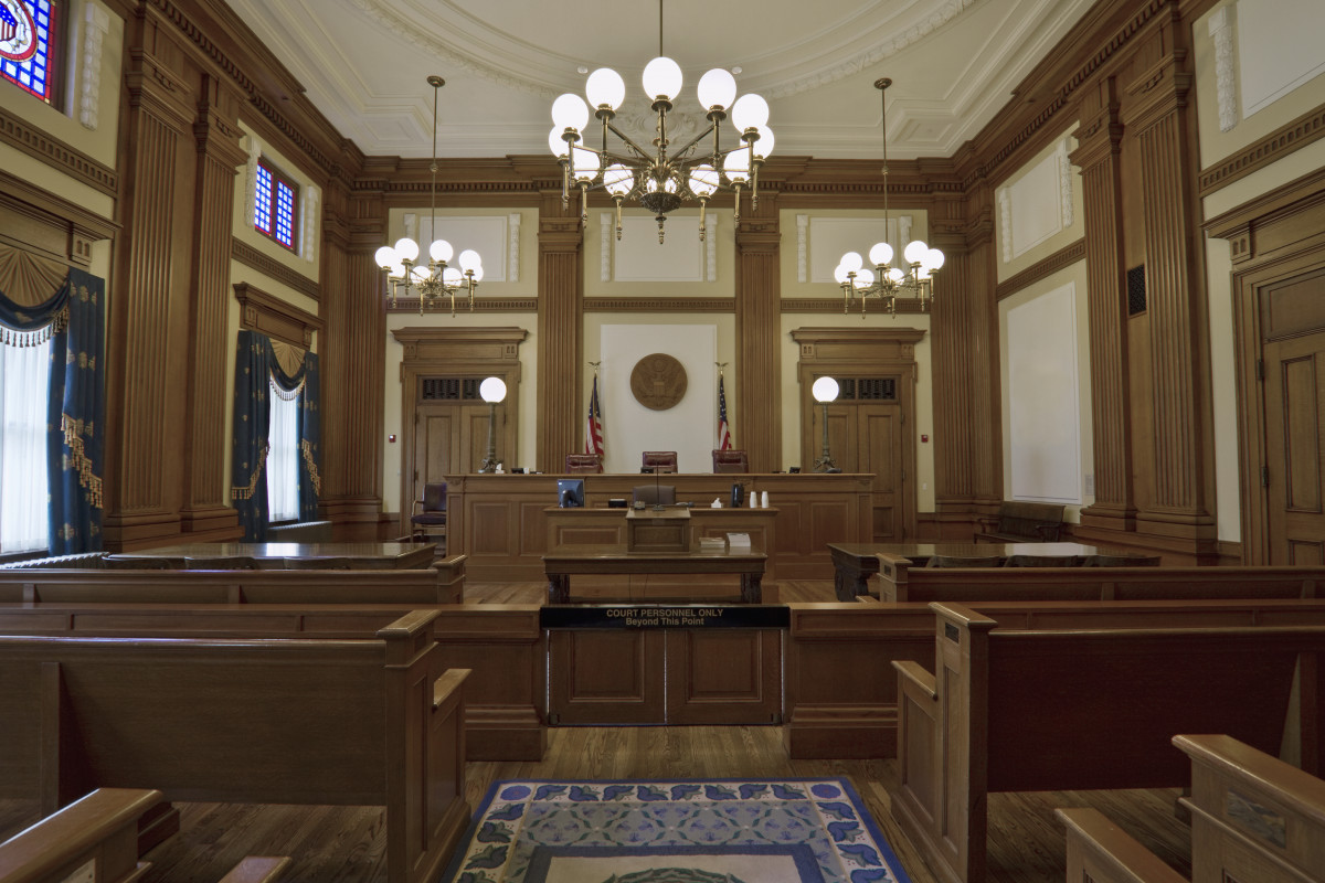 Courtroom inside the Ninth Circuit Pasadena Courthouse