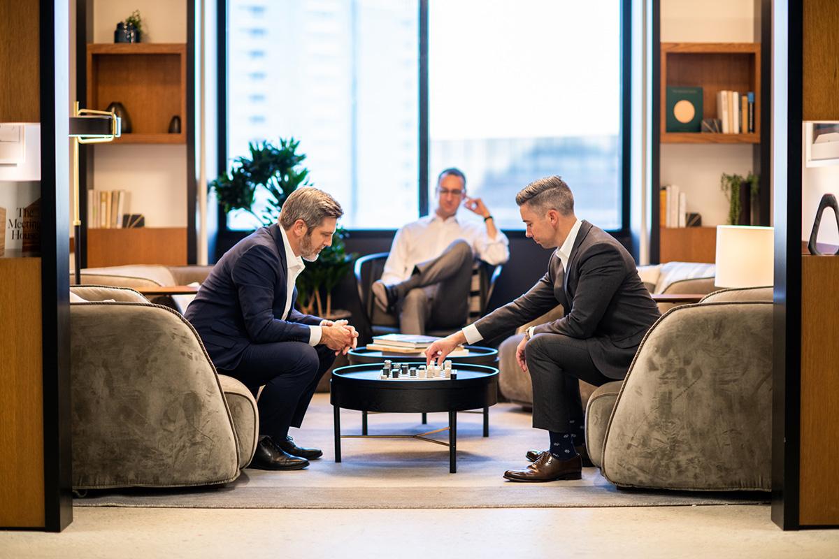 John Shenk and Mark Sedlander Playing Chess